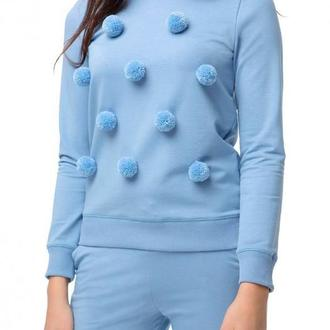 Голубой свитшот с помпонами (костюм)
