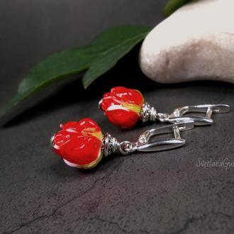 Серебряные серьги с розами