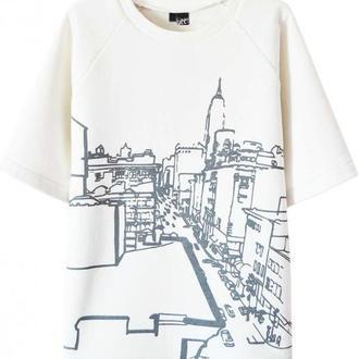 """Белый свитшот с принтом """"City"""" (с начесом)"""