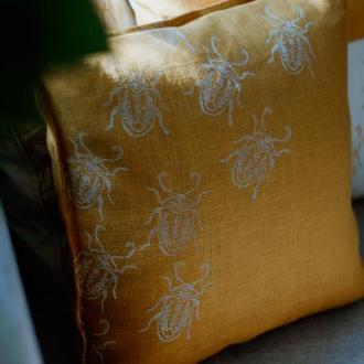 Лляна подушка з авторським принтом