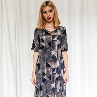 Сукня міді / абстракція з рукавами