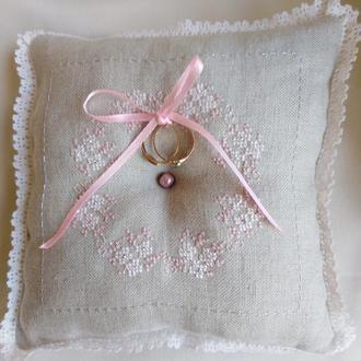 Эксклюзивная свадебная льняная подушечка для колец