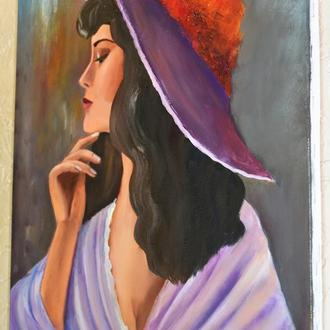 Дама в раздумьях, живопись на холсте, размер 40х50 см