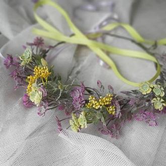 Венок на голову лавандовый прованс фиолетовый с желтым