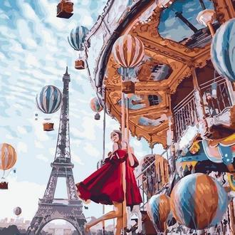 Картина за номерами 40x50 Повітряні кулі Парижа (GX22860) Код: 0096-1014