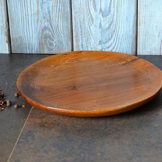 Тарелка большая, тарелка из дерева, салатница из дуба