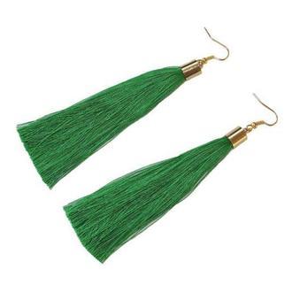Серьги кисточки изумрудные, зеленые