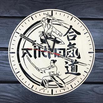 Оригинальные настенные часы из дерева «Айкидо»