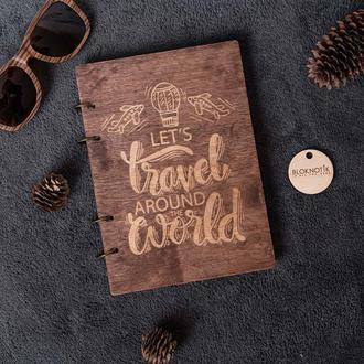 Большой деревянный блокнот  формата А5 с подписью Lets Travel