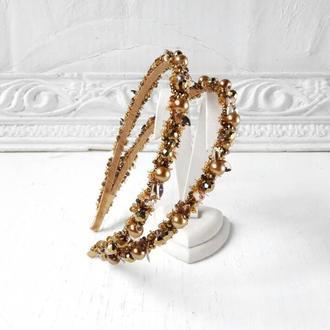 Свадебный золотистый ободок с керамическим жемчугом, Тиара для невесты, Двойной обруч на выпускной