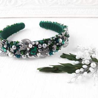 Свадебный зеленый обруч с искусственным жемчугом и кристаллами, Тиара для невесты