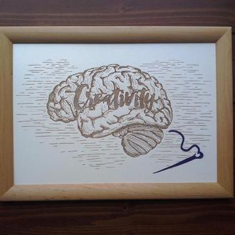 "Картина ""Creativity"", гравировка по дереву"