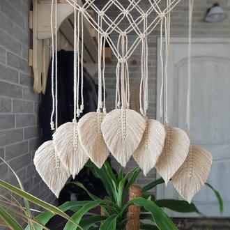 панно-макраме листочки