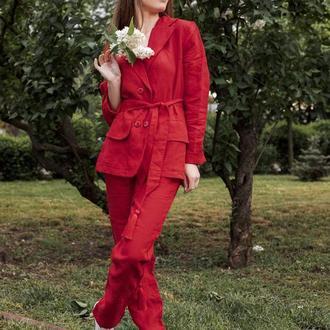 Льняной костюм, костюм из льна, двубортный пиджак жакет, лляний костюм, костюм з льону