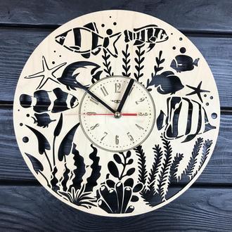 Декоративные деревянные часы ручной работы «Аквариум»