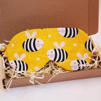 Маска для сну - бджоли київ, пов'язка на очі бджоли дніпро, маска для сну бджоли харків