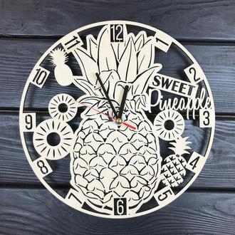 Деревянные настенные часы ручной работы «Ананас»