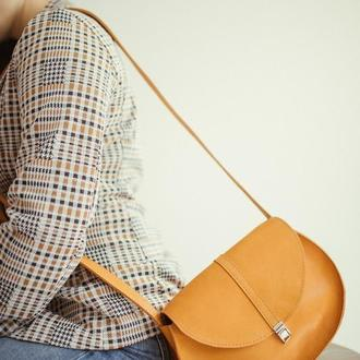 Кожаная сумка Saddle, желтая сумка из кожи, стильная женская сумка