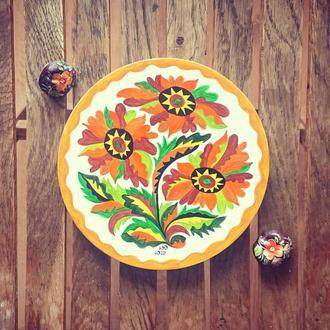Подсолнухи. Деревянная тарелка самчиковская роспись. Рустикальный стиль.