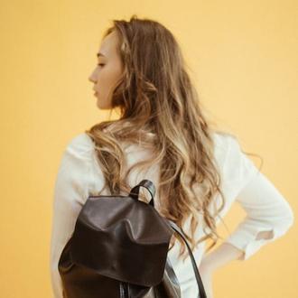 Стильный городской рюкзак из кожи, женский кожаный рюкзак, черный городской рюкзак Bagster
