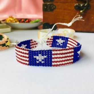 Плетеный браслет из бисера флаг США, бисерный браслет, браслет из бисера в цветах флага Америки