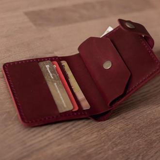 Карманное женское портмоне из винтажной кожи_компактный женский кошелек на кнопке