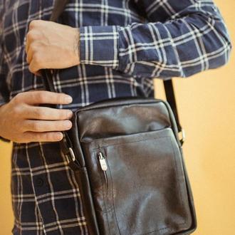 Мужская кожаная сумка, стильная сумка из кожи, черная сумка через плечо для мужчин