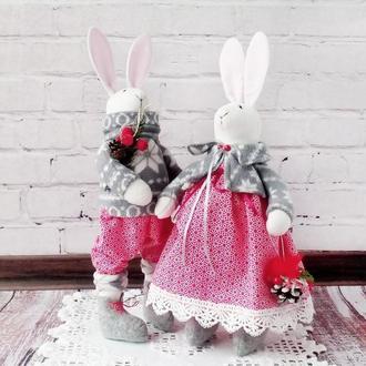 """Игрушки интерьерные """"Кролики зимние"""""""