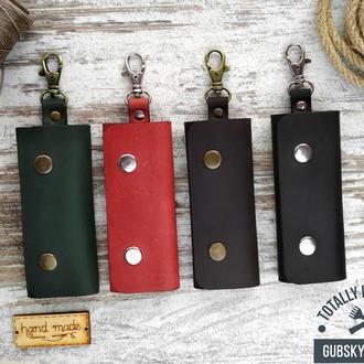 Чехол для ключей, ключница кожаная карманная на 4 карабина