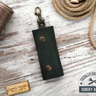 Ключница кожаная карманная, чехол для ключей на 4 карабина