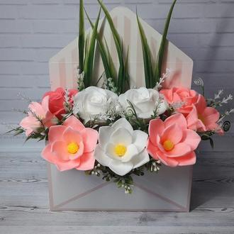 """Букет цветов из мыла в конверте """"Розы и Магнолии"""""""