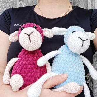 Игрушка крючком плюшевая Овечка. Подарок малышу. Подарок ручной работы. Для новорожденных.