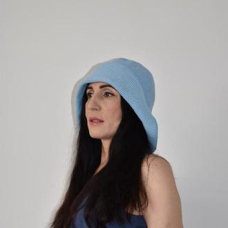 Шляпа летняя в ретро стиле Панама голубая Летний головной убор Вязаная шляпа с большими полями