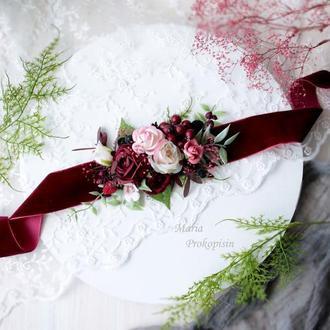 Бархатный пояс на платье с цветами ручной работы в бордовом цвете.