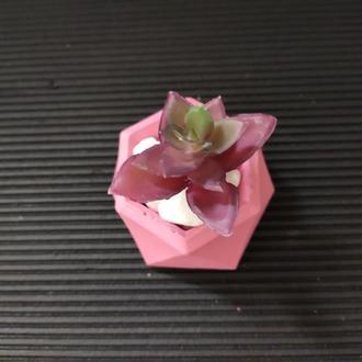 ★геометрическое кашпо под мрамор для декупажа, под подсвечник ★➧ розовый (Код -Гера)
