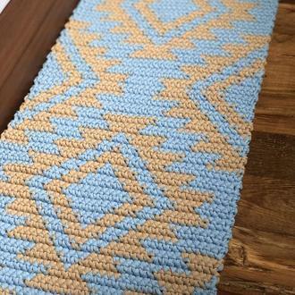 Вязаный ковёр вязаный коврик прикроватный