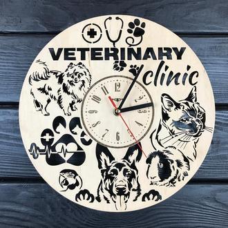 Настенные деревянные часы в ветеринарную клинику