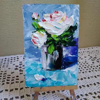 "Картина маслом "" ,Букетик роз"""