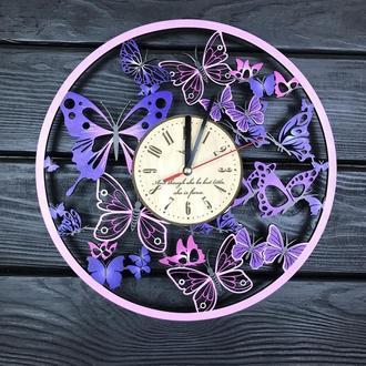 Деревянные часы на стену с цветной УФ печатью «Вальс бабочек»