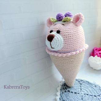 Вязаная игрушка крючком Мишка-мороженка ,16 см