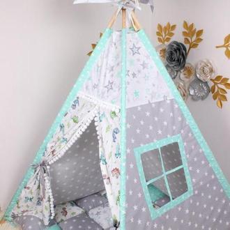 """Детская палатка-вигвам с ковриком """"Динозаврики"""" 125х125х170 см"""