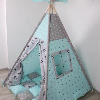 Детская палатка-вигвам Мятные панды 125х125х170 см