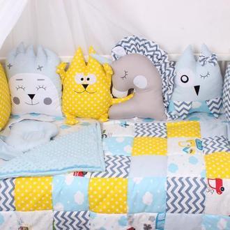 Комплект в кроватку в Желто-голубых цветах