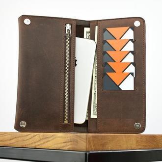 Кожаный кошелек Мужское кожаное портмоне Мужской именной кошелек из натуральной кожи Подарок мужу