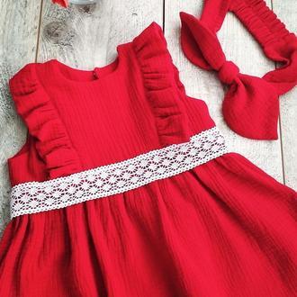 Платье из муслина с повязкой солоха в наличии на 1-2 года