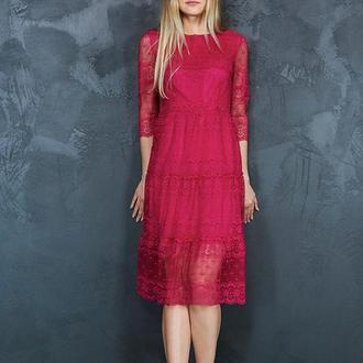 Платье кружевное меди (П 45)