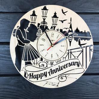 Настенные деревянные часы на годовщину свадьбы