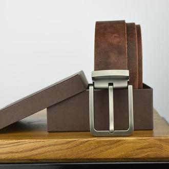 Коричневый кожаный ремень Подарочный ремень Подарок мужу на годовщину Именной кожаный ремень