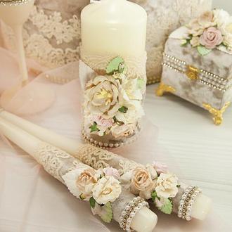 Свадебные свечи бежевые / Венчальные свечи / Пудрові свічки для весілля / Пудровые свечи