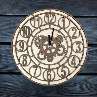 Универсальные настенные часы из дерева с шестеренками